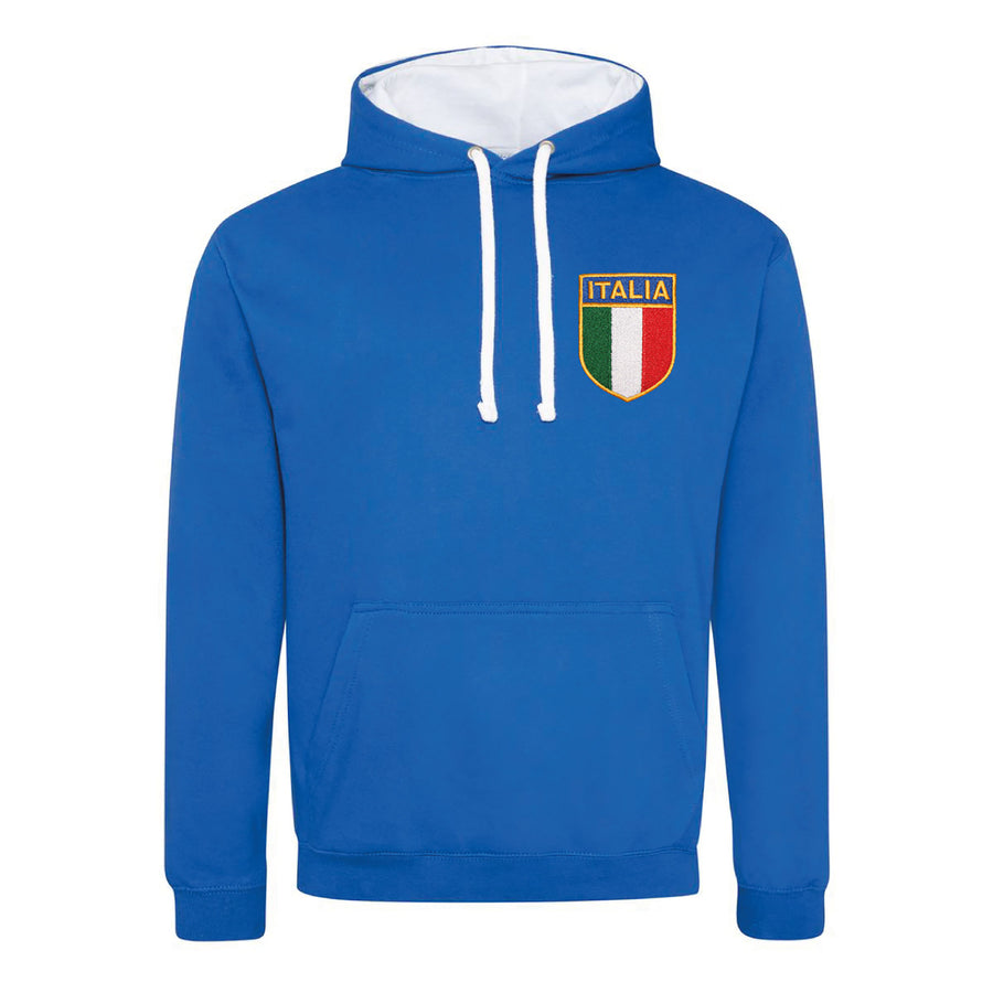 Adult Italy Italia Retro Style Rugby Hoodie With Embroidered Crest - Royal blue arctic white