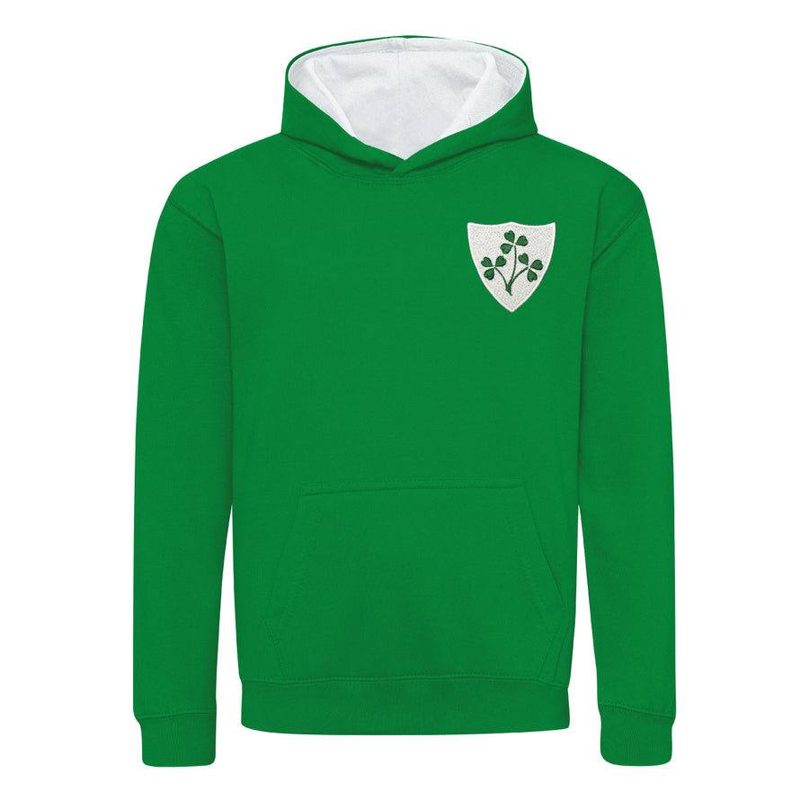 Kids Ireland Retro Style Rugby Hoodie With Embroidered Shamrock Crest - Kelly Green Arctic White