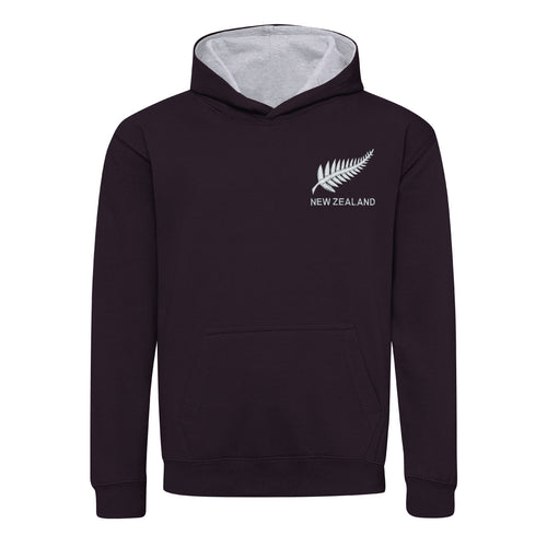 Kids New Zealand Vintage Retro Embroidered Rugby Football Sport Hoodie in Black