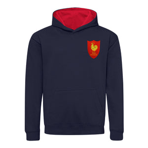 Kids France Retro Style Rugby Hoodie With Embroidered Crest - Navy Blue Fire Red