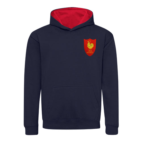 Kids France French Vintage Retro Embroidered Rugby Football Sport Hoodie - Navy Blue