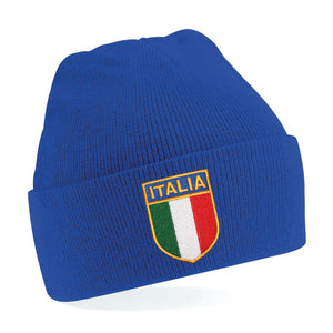 Kids Italy Italia Vintage Retro Embroidered Rugby Football Sport Beanie Hat - Royal Blue