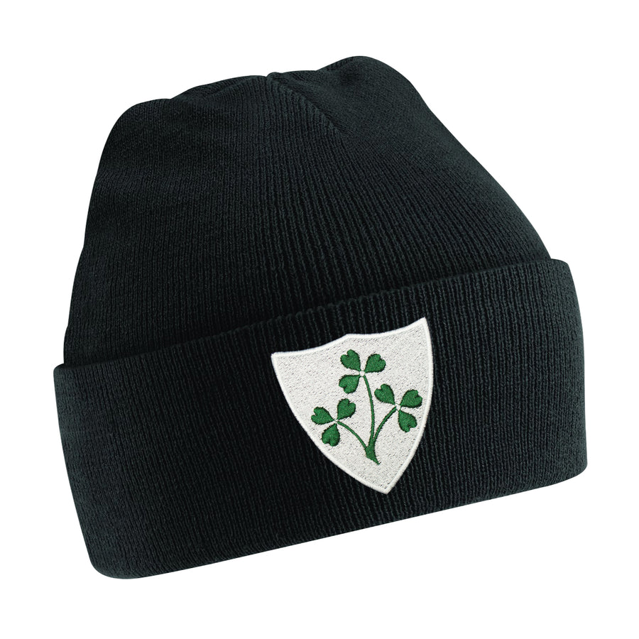 Kids Ireland Embroidered Rugby Football Sport Winter Beanie Hat in Black