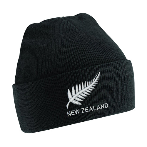 Kids New Zealand Vintage Retro Embroidered Rugby Football Sport Beanie Hat - Black
