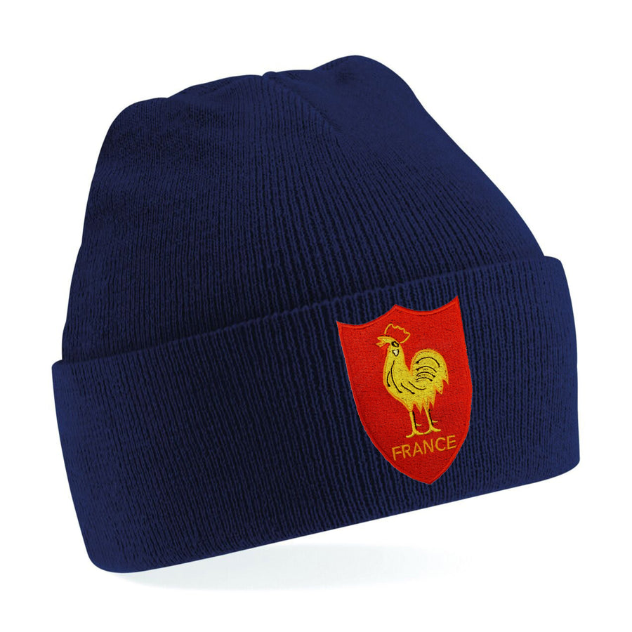 Kids France French Vintage Retro Embroidered Rugby Football Sport Beanie Hat - Navy Blue