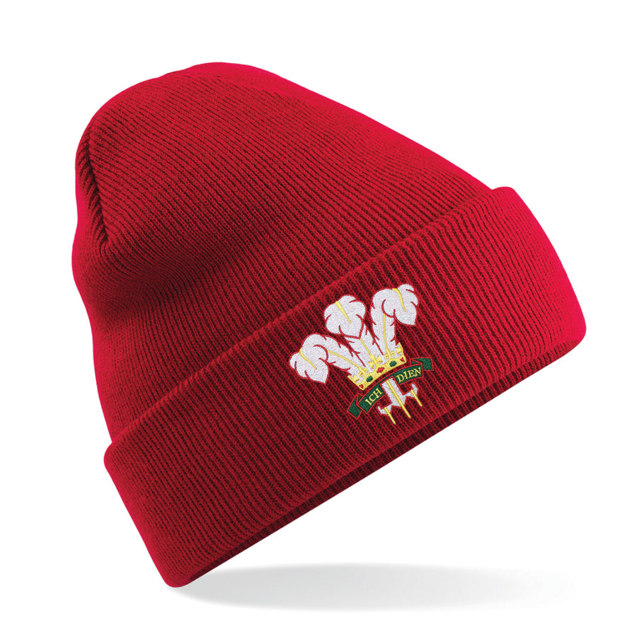 Adult Unisex Wales Welsh Vintage Retro Embroidered Rugby Football Sport Beanie Hat - Red