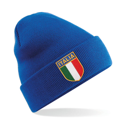 Italy Italia Vintage Retro Embroidered Rugby Football Sport Beanie Hat - Adult & Kids in Royal Blue