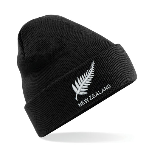 Adult Unisex New Zealand Vintage Retro Embroidered Rugby Football Sport Beanie Hat - Black