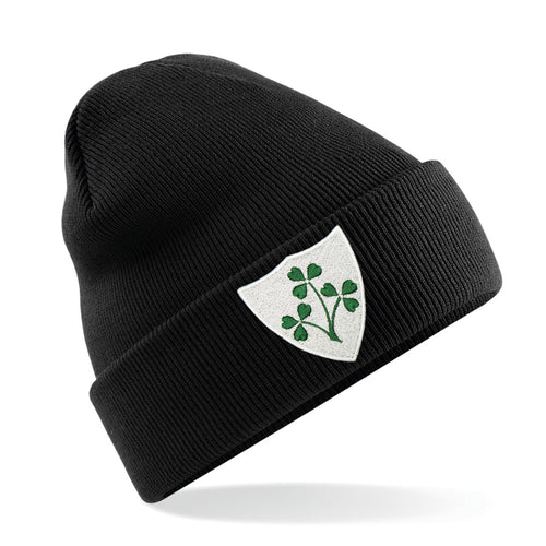 Adult Unisex Ireland Irish Embroidered Rugby Football Sport Winter Beanie Hat in Black