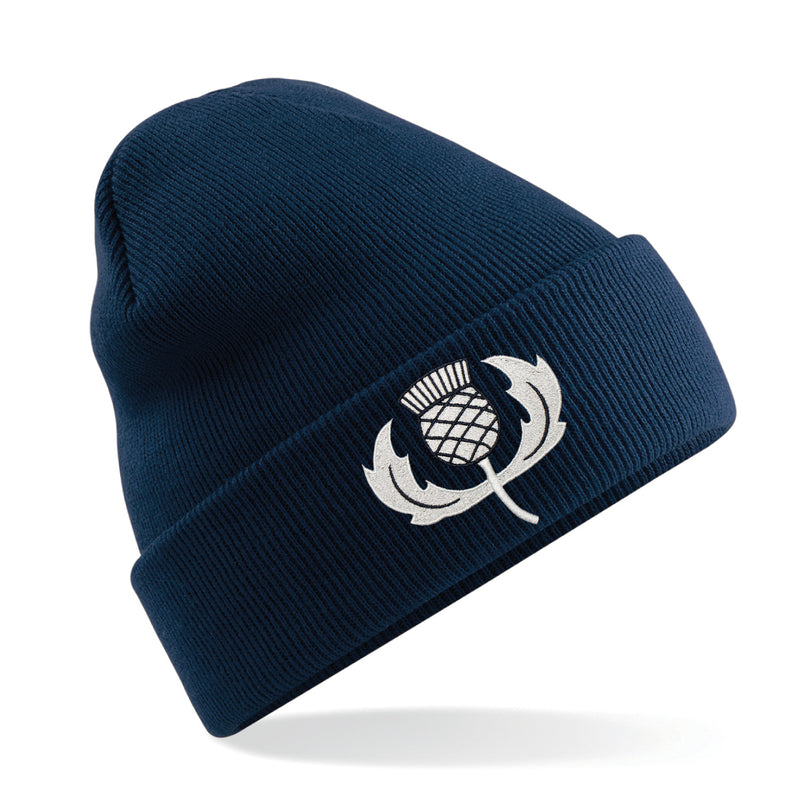 Adult & Kids Scotland Scottish Vintage Retro Embroidered Rugby Football Sport Beanie Hat - Navy Blue