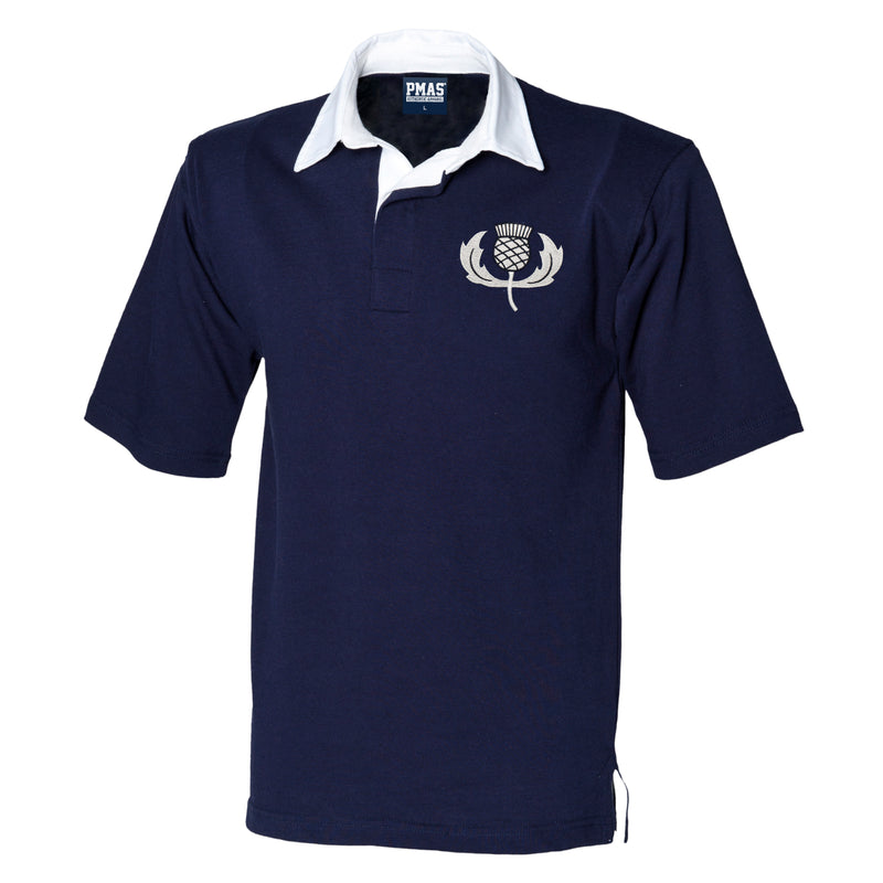 MEN'S vintage embroidered Scottish thistle SHORT SLEEVE Scotland rugby SHIRT in NAVY / WHITE