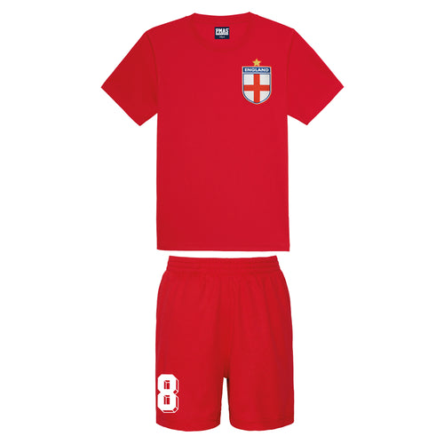 Kids England English Vintage Football Shirt & Shorts with Personalisation - Red / Red