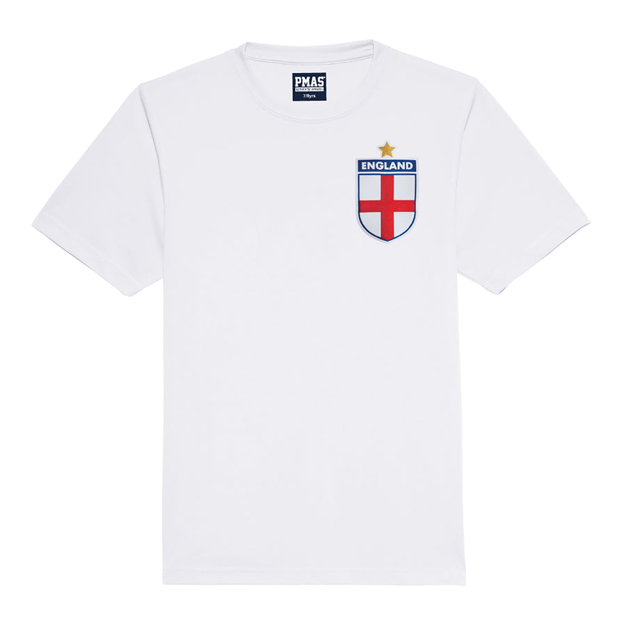 Kids England All White Football kit Shirt & Shorts with Personalisation - White / White