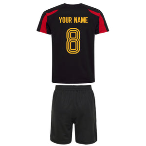 Kids Belgium Belgique Football Shirt Shorts & Personalisation - Black / Black