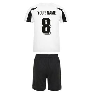 Kids Germany Deutsche Vintage Football Shirt & Shorts with Personalisation - White / Black