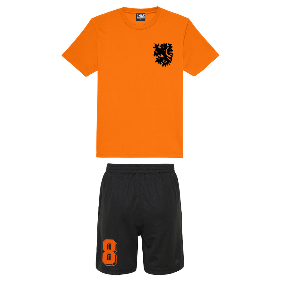 Kids Holland Nederlands Koningsdag Football Shirt Shorts with Personalisation Orange Black