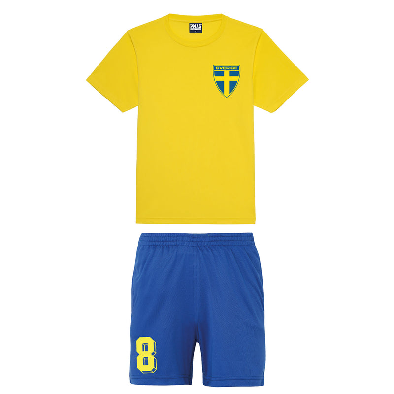 Adults & Kids Sweden Sverige Vintage Football Shirt Shorts & Personalisation - Yellow / Blue