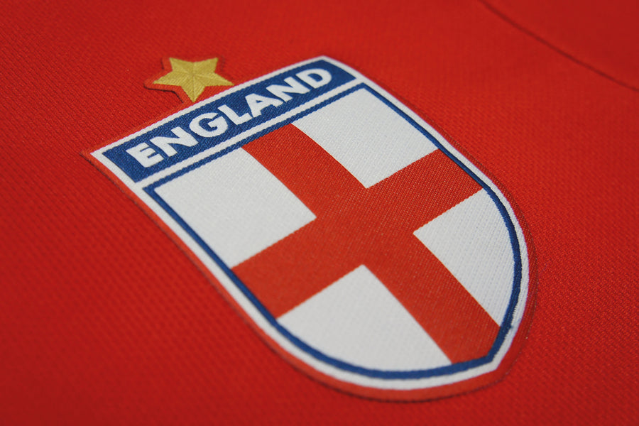 Kids England Retro Football Shirt with Free Personalisation - Red
