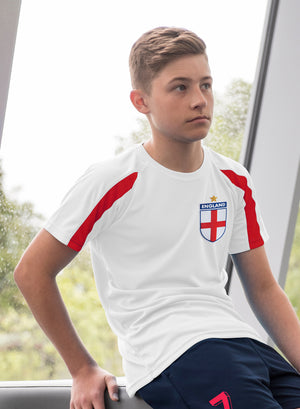 Kids England English Vintage Football Shirt with Free Personalisation - White / Red