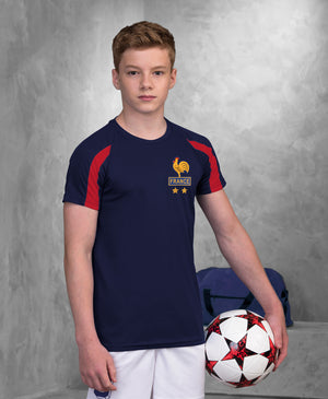 Kids France Les Bleus Retro Football Shirt with Free Personalisation - Blue