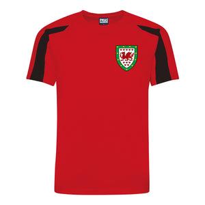 Kids Wales CYMRU Retro Football Shirt with Free Personalisation - Red