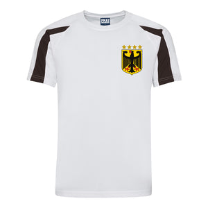 Kids Germany Deutsche Retro Football Shirt with Free Personalisation - White