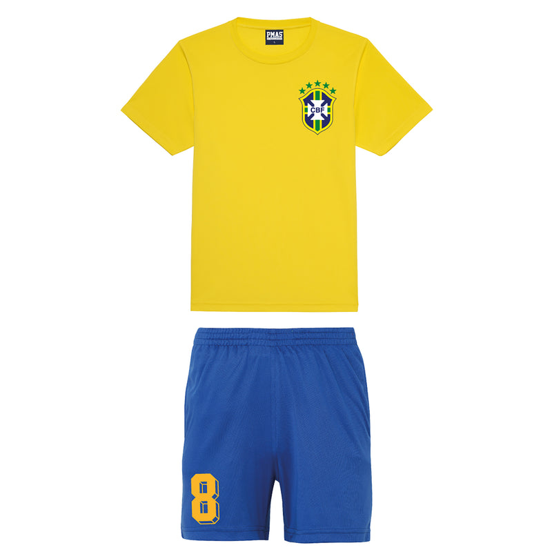 Adults & Kids Brazil Brasil Vintage Football Shirt & Shorts with Personalisation - Yellow / Blue