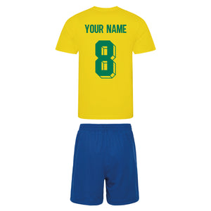 Kids Brazil Brasil Vintage Football Shirt & Shorts with Personalisation - Yellow / Blue