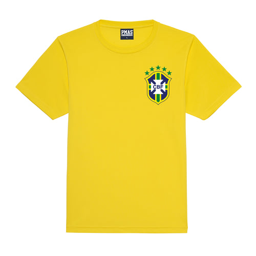 Adults Brazil Brasil Vintage Football Shirt with Free Personalisation - Yellow