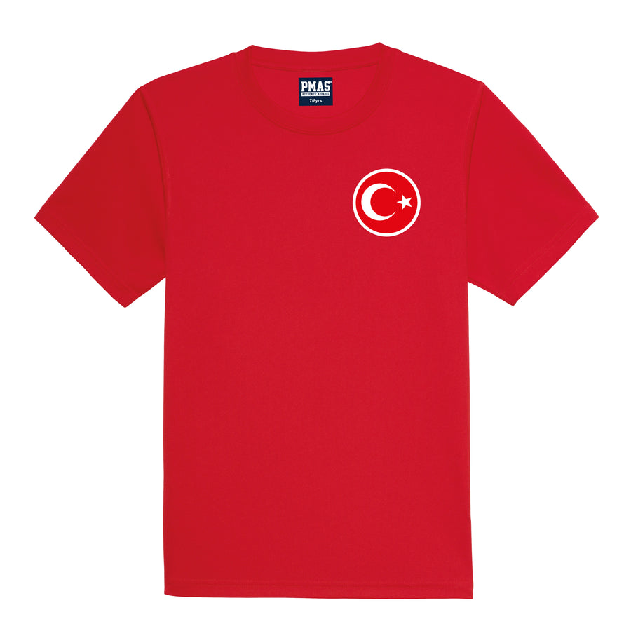 Kids Turkey Turkiye Retro Football Shirt with Free Personalisation - Red