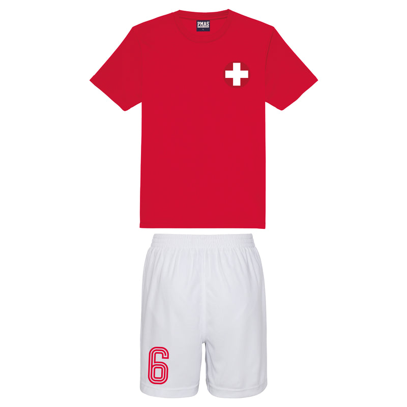 Adults Switzerland Suisse Vintage Football Shirt Shorts & Personalisation - Red / White