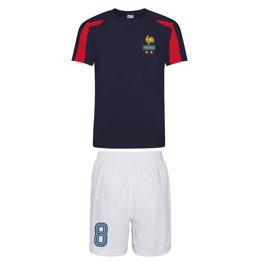 Adults France Les Bleus Vintage Football Shirt & Shorts with Free Personalisation Blue White