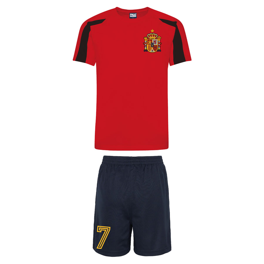 Adults Spain España Retro Football Kit Shirt Shorts & Shorts & Free Personalisation - Red