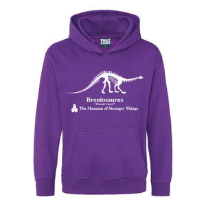 Kids Museum of Stranger Things Brontosaurus Dinosaur Hoodie - Purple