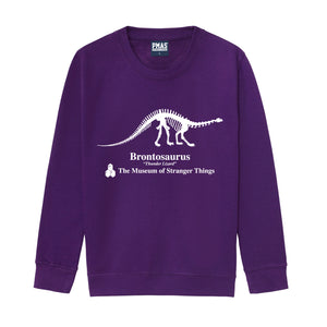 Kids Museum of Stranger Things Brontosaurus Dinosaur Sweatshirt - Purple