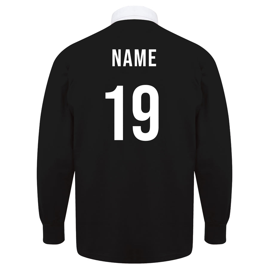 Adults New Zealand Vintage Style Short Sleeve Rugby Football Shirt with Free Personalisation - Black