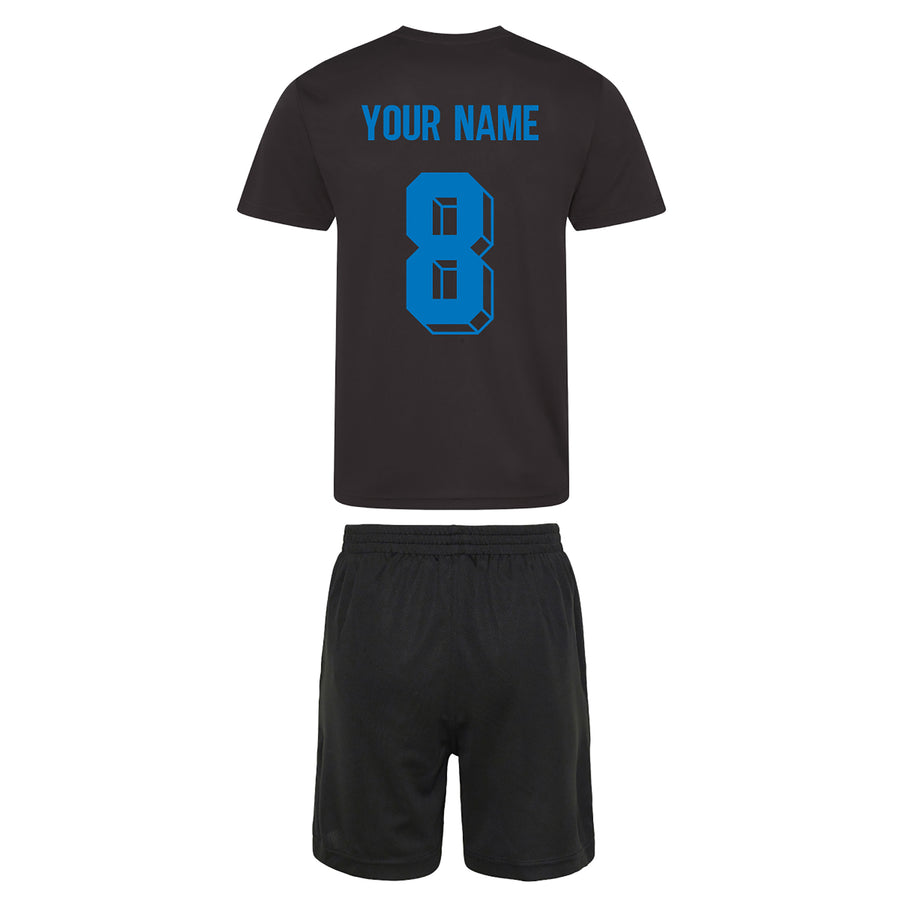 Kids England Football Drill Training Shirt & Shorts with Personalisation - Black / Black