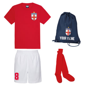 Kids Customisable England Style Kit Football Shirt, Shorts, Socks, Personalised Bag Away
