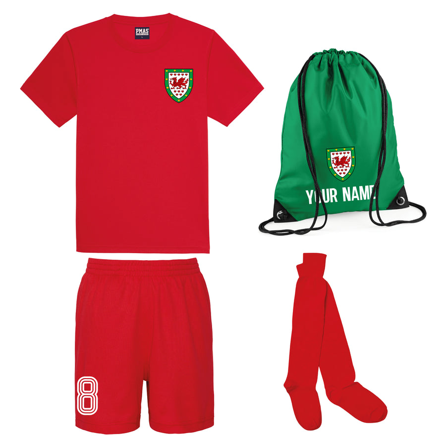 Kids Customisable Wales CMYRU Football Kit Shirt, Shorts, Socks and Personalised Bag Away