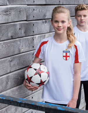 Kids England Home Football Kit Shirt & Shorts with Personalisation - White/Fire Red with Navy