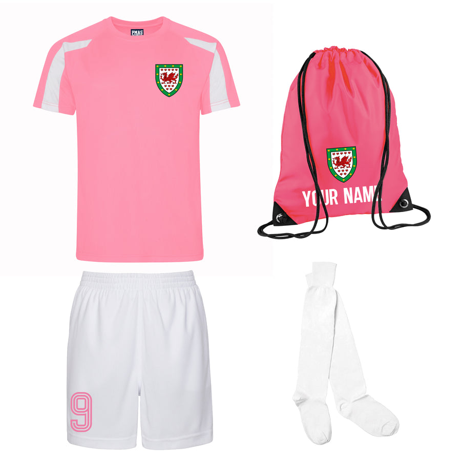 Girls Customisable Wales CMYRU Football Kit Shirt, Shorts, Socks and Personalised Bag Away