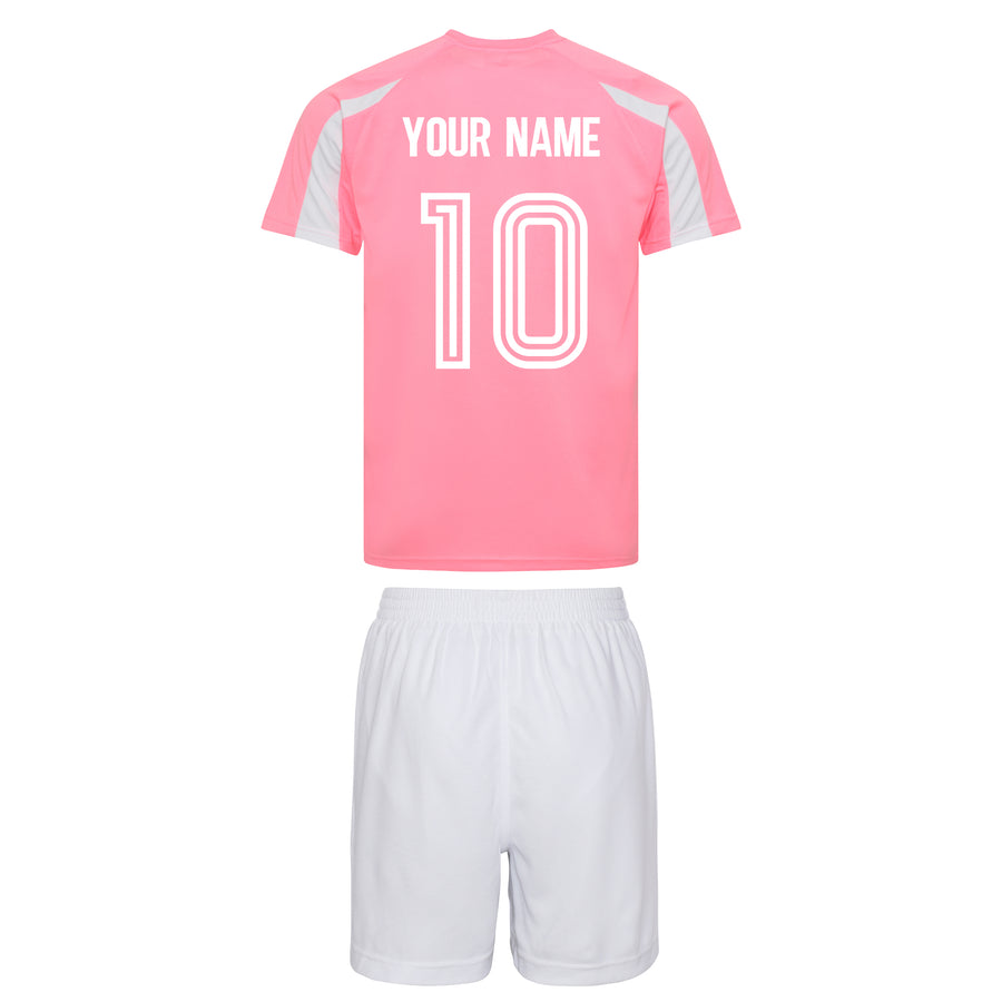 Girls Pink Customisable Scotland Football Kit Shirt, Shorts, Socks and Personalised Bag Away