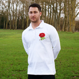 Adults England English Rose Vintage Style Long Sleeve Rugby Shirt with Free Personalisation - White