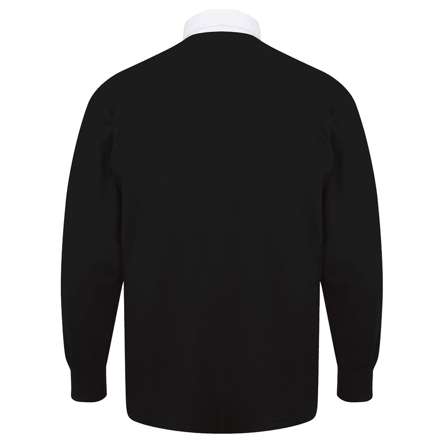 Adults England English Rose Vintage Long Sleeve Rugby Shirt with Free Personalisation - Black