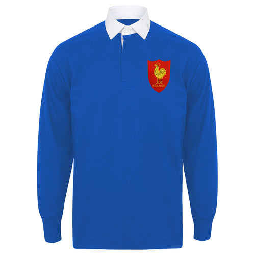 Mens France French Vintage Long Sleeve Rugby Football Shirt with Free Personalisation -  Blue