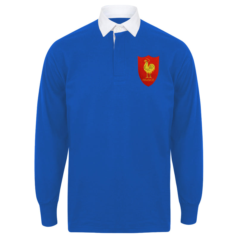 Adult & Kid France French Vintage Long Sleeve Rugby Football Shirt with Free Personalisation -  Blue