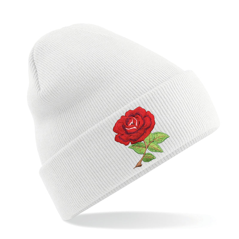 England English Vintage Retro Embroidered Rugby Football Sport Beanie Hat - Adult in White
