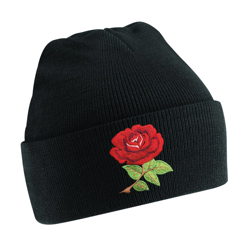 Kids England English Vintage Retro Embroidered Rugby Football Sport Beanie Hat - in Black