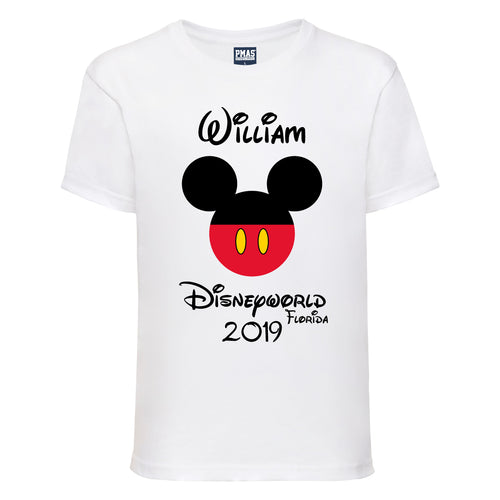 Boys Personalised Disney Holiday T-Shirt Custom-Made Family