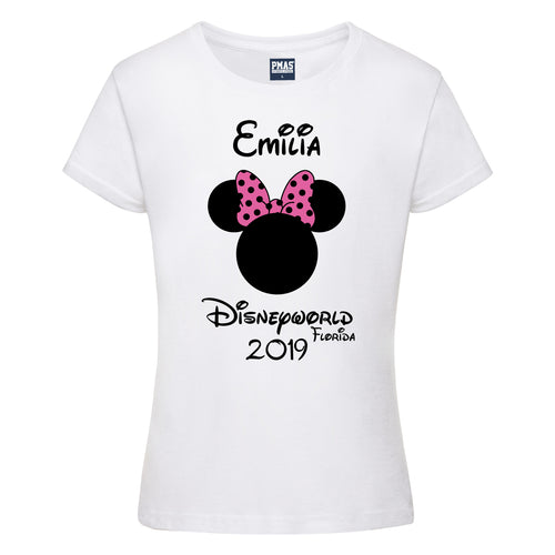 Girls Personalised Disney Holiday T-Shirt Custom-Made Family